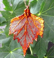 birch leaf pendant and chain