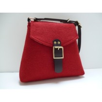 red tweed bag