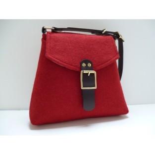 red tweed bag