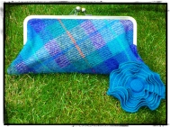 Harris Tweed Clutch Teal/Purple