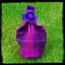 reversible Harris Tweed knot bag