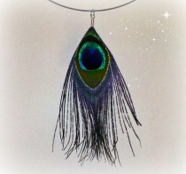 peacock feather choker
